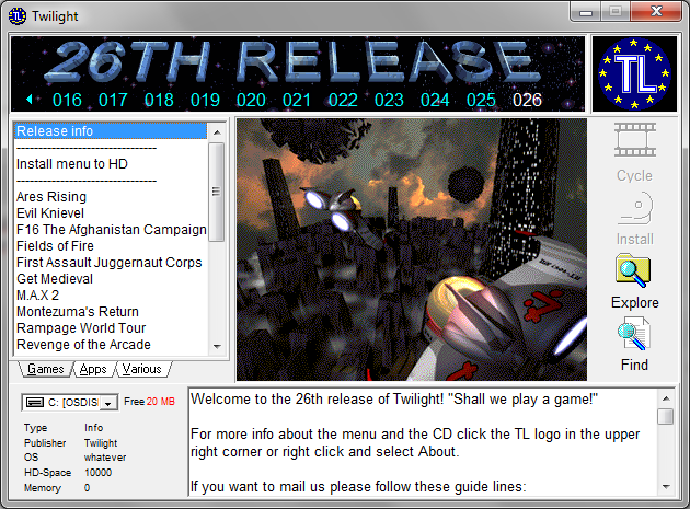 menu95 release 26 screenshot